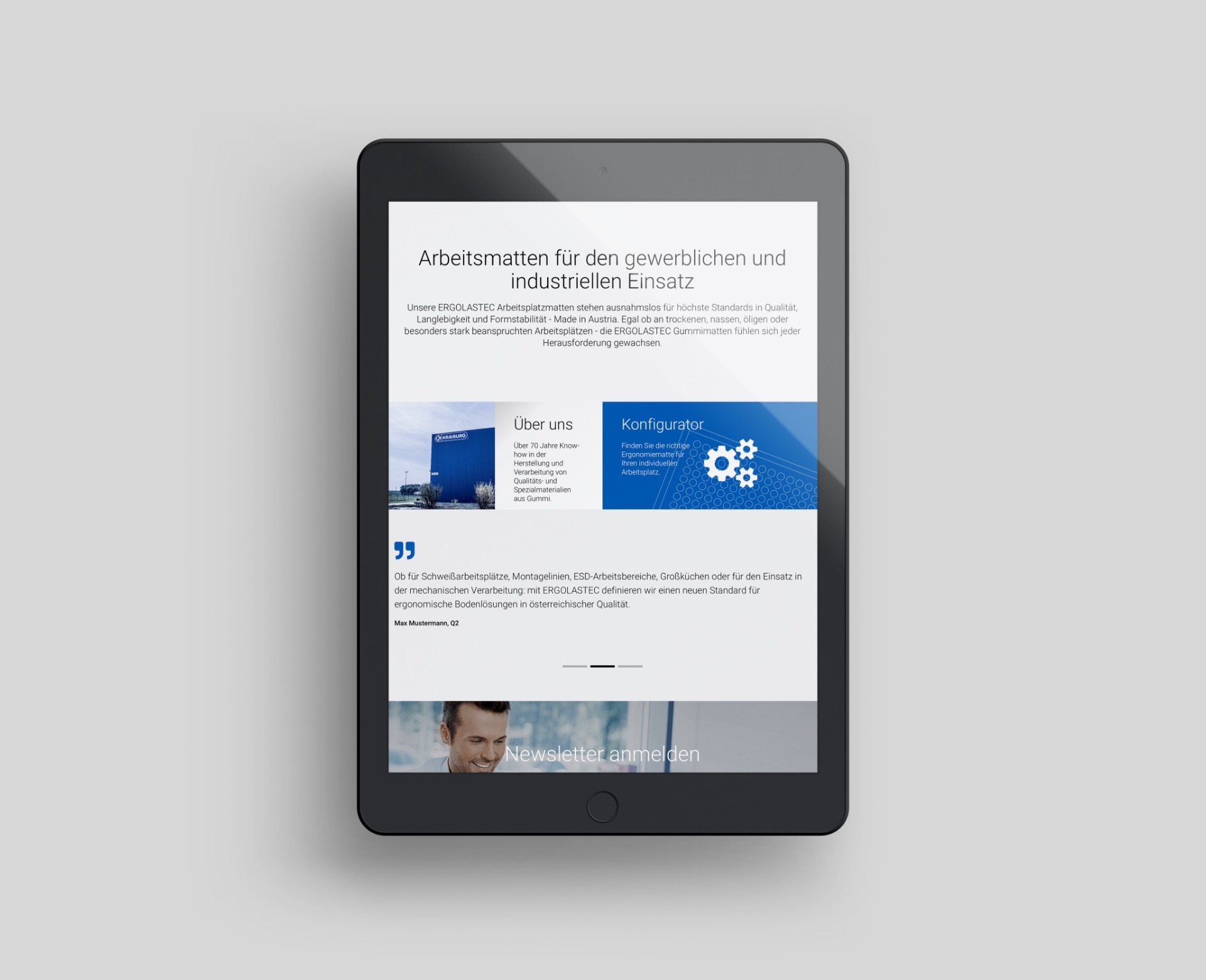 Q2 Werbeagentur, Kraiburg, Matting Systems, Webdesign